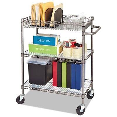 Alera Three-Tier Rolling Shelf Cart - SW543018BA