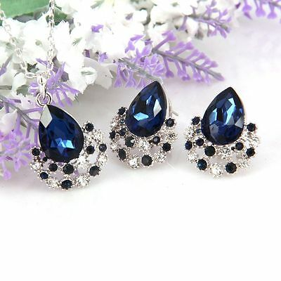 Silver Color Navy Blue Crystal Pendant Necklace Earring Wedding Bridal Set S30