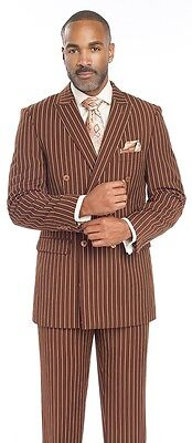 Mens Pinstripe Brown Double Breasted Suit M2701 1920s Striped Suits Men
