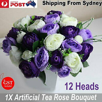 New 1X Bouquet Artificial Tea Rose Flowers Purple White Silk DIY Wedding Bridal