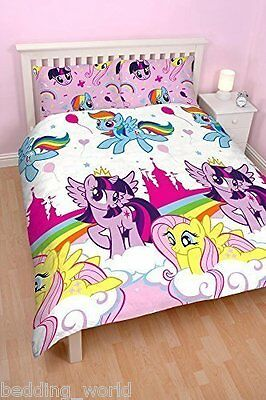 Double Bed My Little Pony Equestria Duvet Cover Set Unicorn Rainbow Pink Clouds