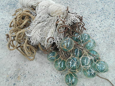 Vintage Glass Fishing 17 Floats in Bunch with Rope and Medium Net Japanese #498