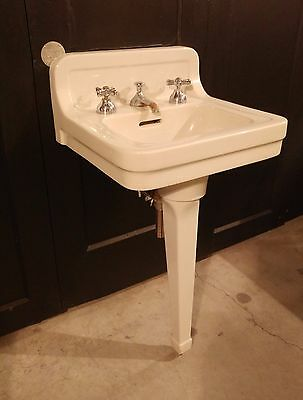 Vintage Original Peg Leg Pedestal Sink by Tepeco - White Porcelain