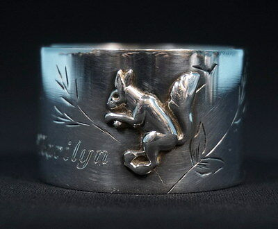 Antique Art Deco French Silver Napkin Ring Squirrel Relief Stephane Prudhomme
