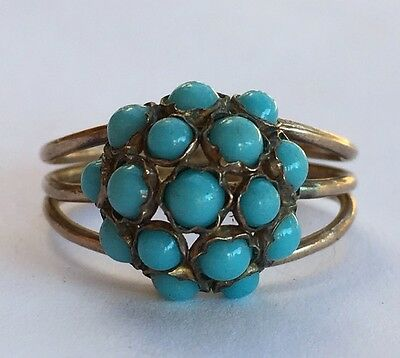 Antique Vintage Victorian 14k Rose Gold Persian Turquoise Cocktail Ring Sz 7.5