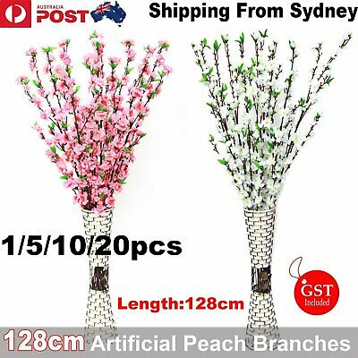 5X 128cm Artificial Spring Peach Cherry Blossom Flower Flowers Bouquet Wedding