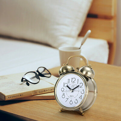Twin Bell Alarm Clock Loud Silent Vintage Retro Battery Bedside LED Night light