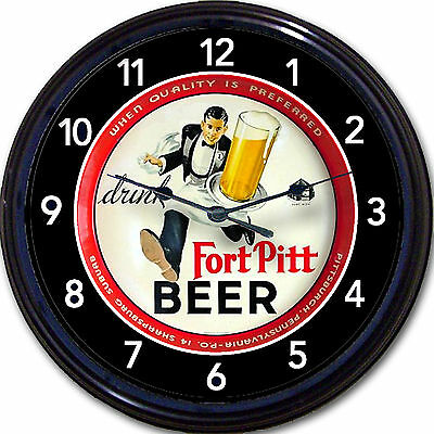 Fort Pitt Brewing Co Pittsburgh PA Beer Tray Wall Clock Waiter Ale Brew Man Cave