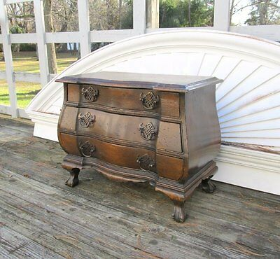 Vintage Wood Chippendale Lowboy Claw Foot Bombay Jewelry Box Flatware Chest