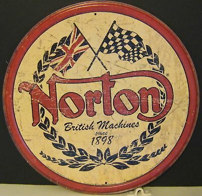 Norton Established 1898 Round, Metal Sign,  Apo And Fpo Welcome