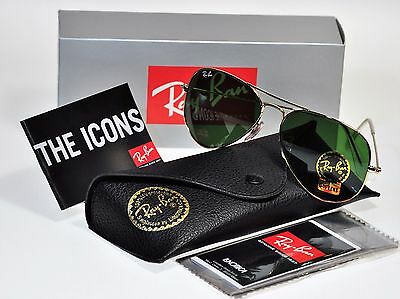 NEW Authentic Ray Ban RB3025 W3234  55mm Small AVIATOR Gold Frame/G15 Green Lens