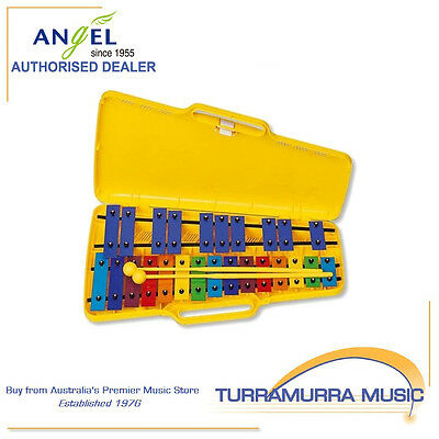 Angel Chromatic 25 Note Glockenspiel with Yellow Plastic Case & Beaters - AG25N3
