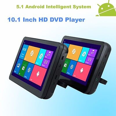 Android 5.1 Headrest 10.1 Inch HD Monitor Quad Core Car DVD Player - Black Color