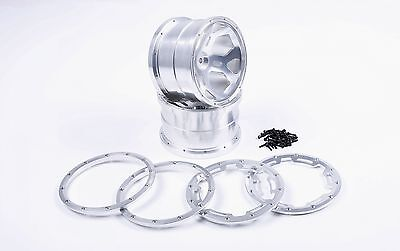 TSRC CNC Alloy Hub kit Silver for 1/5 Big Monster car