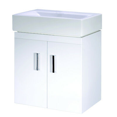 Bathroom White Vanity Unit Basin Sink Cloakroom Small Compact Wall Mount Cabinet