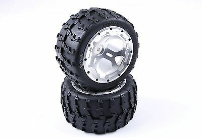 Wheel tire With CNC Alloy Hub kit Silver for 1/5 Big Monster car