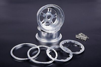 Alloy CNC Front wheel hub Silver for HPI Baja 5B