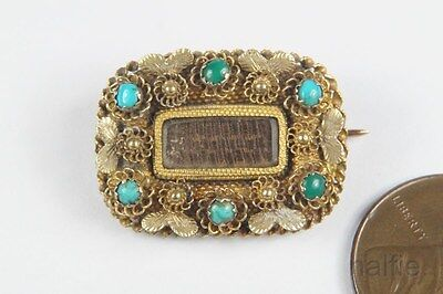 ANTIQUE ENGLISH LATE GEORGIAN 15K GOLD TURQUOISE MOURNING BROOCH c1830