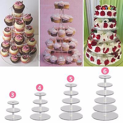 3/4/5/6 Tier Clear Acrylic Round Cup Cake Cupcake Stand Wedding Birthday Party