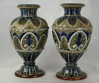 """A Fine Pair Of Antique Victorian Doulton Lambeth Stoneware Vases Dated 1877 7.5"""""""