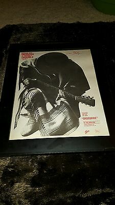 Stevie Ray Vaughan Crossfire Rare Original Radio Promo Poster Ad Framed!