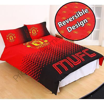 Manchester United Fc Fade Double Duvet Cover Set Official Football Bedding New