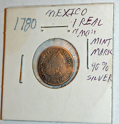 1780 Mexico 1 Reale silver coin with MO mintmark