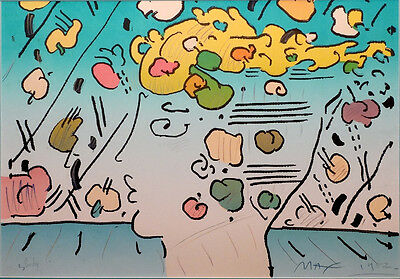RARE! PETER MAX Vintage 1982 MIXED MEDIA Lithograph Print STUDY DRAWING / SIGNED