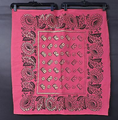Antique Old Store Stock Never Finished Red Cotton Bandana With Domino Floral