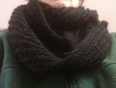 Black Circular Scarf with BlackSparkly Sequence  60 inches Great for Winter