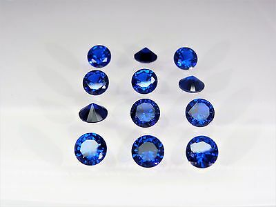 Blue Spinel Round Brilliant Cut SIZE CHOICE Loose Stones CZ Gemstones