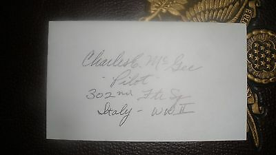 Autograph: Col. CHARLES E. McGEE, USAF Tuskegee Airman WWII P-51 Pilot