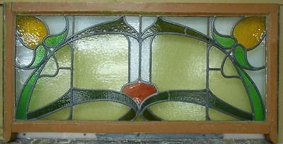 """EDWARDIAN OLD ENGLISH LEADED STAINED GLASS WINDOW TRANSOM Floral 45.5"""" x 21.5"""""""