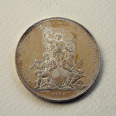 Switzerland 1881 Silver Shooting Festival Thaler (5 Francs) - Uncirculated!