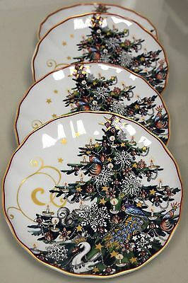 New TWAS THE NIGHT BEFORE CHRISTMAS Williams Sonoma TREE Salad PLATES Set Of 4