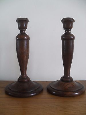 Original Vintage Oak Wooden Candle Sticks with Removable Brass Cups.