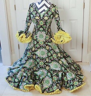 HIGH QUALITY Authentic ESTATE Vintage FLAMENCO Dance DRESS Spanish Sevilla SMALL