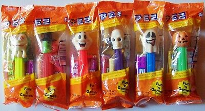 Halloween: Lot of 6 PEZ Dispensers- Ghosts, Pumpkin, Skull, Witch - New, Sealed
