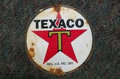 Texaco Porcelain Gas Pump Plate Sign, Dated