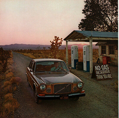 1974 Ad Volvo 164   Vintage Gas Pumps Country Road Civilized For An Uncivilized