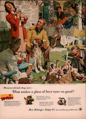 Vintage Ad Beer Association Sundblom Art Springer Spaniel Puppies