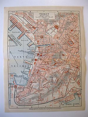 stampa antica MAPPA ANTIQUE OLD PRINT MAP PLAN TRIESTE TRIEST 1930