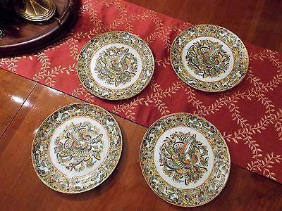 Set of Four Thousand Butterflies Chinese Export Porcelain Plate 19th Century