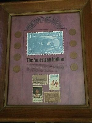 The American Indian Framed Indian Head Penny Collection W/Stamps