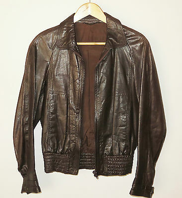 Retro OXFORD Brown Leather Bomber Jacket Australain Made Size 36R