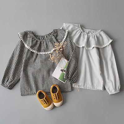 Baby Kids Girls Plaid Blouse Cotton Lace Ruffled T-Shirt Tops Plaid Shirts 3-8Ys