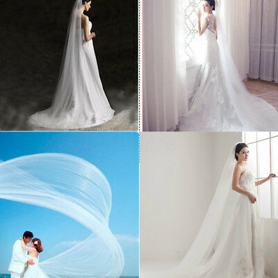 2M/3M/5M Long Bridal Wedding Veil Trailing Floor Cathedral Satin Edge With Comb
