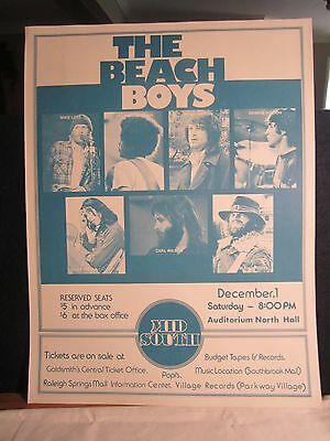 Vintage 1970's The Beach Boys Concert Poster Memphis Tennessee