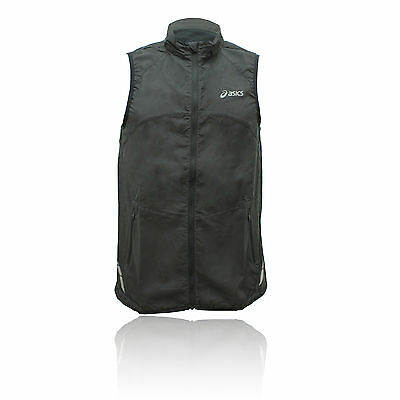 Asics Performance Mens Black Full Zip Sleeveless Running Vest Gilet Top