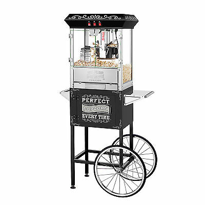 Great Northern 10 oz. Perfect Popper Machine with Cart - Black Makes 12 Quarts